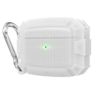 Für AirPods Pro Shield Armor Wasserdichte Schutzhülle mit Karabiner Haken Weiß
