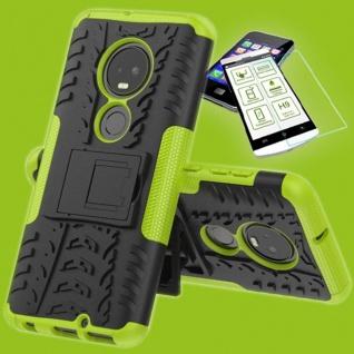 Für Motorola Moto G7 / G7 Plus Hybrid Tasche Etui Outdoor 2teilig Grün + H9 Glas