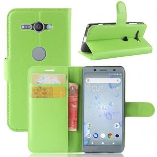 Tasche Wallet Premium Grün für Sony Xperia XZ2 Compact Hülle Case Cover Schutz