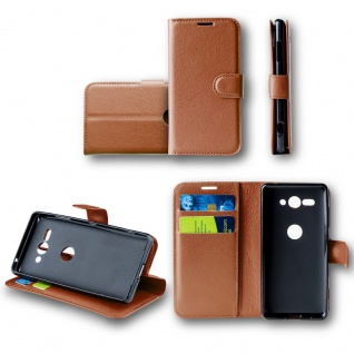 Für Huawei P Smart Plus / Nova 3i Tasche Wallet Braun Hülle Case Cover Book Etui