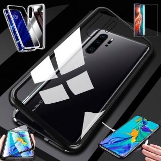 Für Huawei P30 Pro Magnet Glas Tasche Schwarz / Transparent + 0, 3 4D H9 Glas Neu