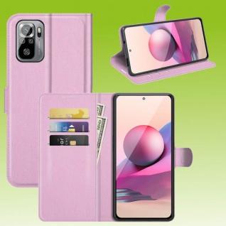 Für Xiaomi Redmi Note 10 Pro Handy Tasche Rosa Etuis Kunst-Leder Cover Hülle Neu