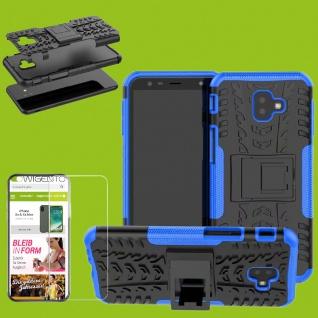Für Samsung Galaxy J4 Plus J415F Hybrid Tasche Outdoor 2teilig Blau + H9 Glas