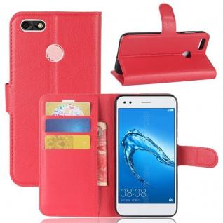Tasche Wallet Premium Rot für Huawei Y6 Pro 2017 / Enjoy 7 Hülle Case Cover Etui