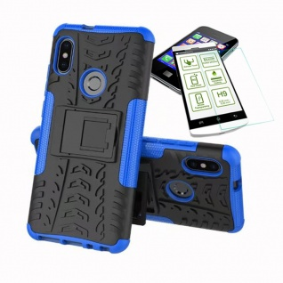 Für Xiaomi Redmi Note 5 Hybrid Tasche Outdoor 2teilig Blau + H9 Glas Cover Case