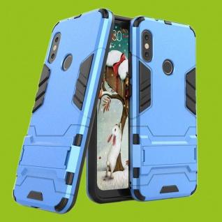 Für Samsung Galaxy A7 A750F 2018 Metal Style Outdoor Blau Tasche Hülle Cover Neu