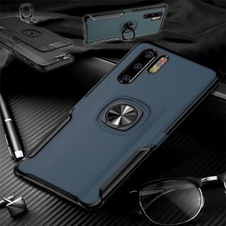 Für Huawei P30 Lite Magnet Metall Ring Hybrid Blau Tasche Hülle Etuis Cover Case