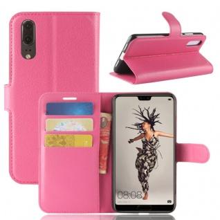 Tasche Wallet Premium Pink für Huawei P20 Hülle Case Cover Schutz Etui Schale