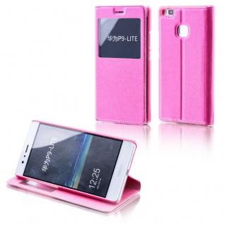 Booktasche Flip Window Pink für Huawei P9 Lite Tasche Smart Cover Hülle Neu Etui