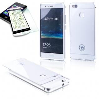 Alu Bumper 2 teilig Silber + 0, 3 H9 Hartglas für Huawei P9 Lite Tasche Hülle