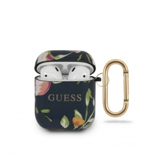 Guess Apple Airpods Silicon Cover Flower Collection 2 Schwarz Hülle Tasche Case