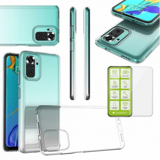 Für Xiaomi Redmi Note 10S / Note 10 Silikon TPU + H9 Glas Handy Tasche Etui Case