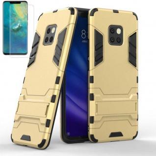 Für Huawei Mate 20 Pro Tasche Metal Style Hybrid Hülle Gold + 4D Curved Glas Neu