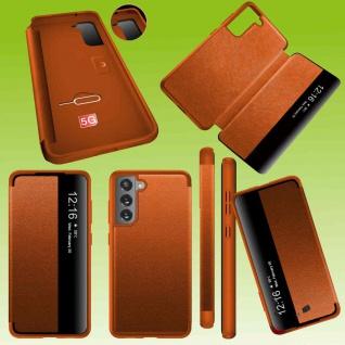 Für Samsung Galaxy S21 FE View Handy Tasche Orange Etuis Kunst-Leder Hülle Case