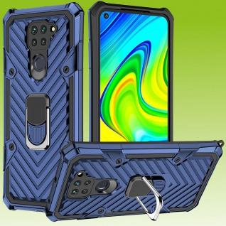 Für Xiaomi Redmi Note 9 Hybrid Case Metall Armor Ring Blau Handy Tasche Hülle
