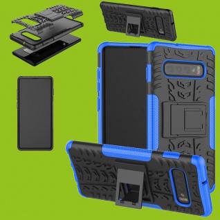 Für Samsung Galaxy S10 Plus G975F 6.4 Hybrid 2teilig Outdoor Blau Tasche Etuis