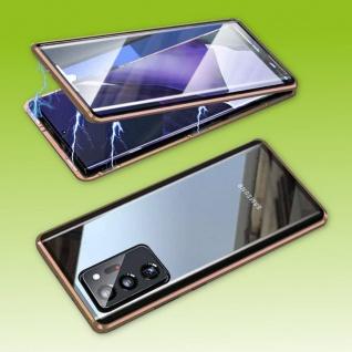Beidseitige Magnet Glas Bumper Handy Tasche Gold für Samsung Galaxy S21 Plus Neu