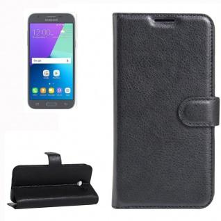 Tasche Wallet Premium Schwarz für Samsung Galaxy J3 2017 / J330F Hülle Case Neu