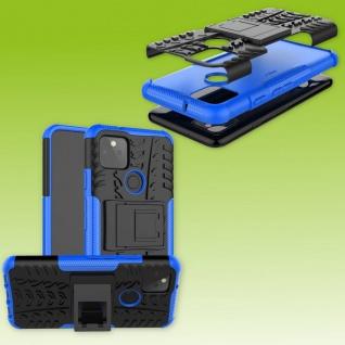 Für Google Pixel 5 Hybrid Case 2teilig Outdoor Blau Handy Tasche Hülle Cover Neu