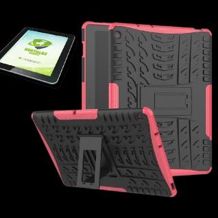 Für Huawei MediaPad M5 Lite 10.1 Hybrid Outdoor Pink Tasche + 0.4 H9 Schutzglas