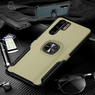 Für Huawei P30 Lite Hybrid Magnet Metall Ring Tasche Gold + H9 Glas Etuis Hülle