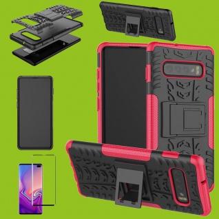 Hybrid Tasche Etuis Hülle Pink für Samsung Galaxy S10 Plus + 4D H9 Curved Glas