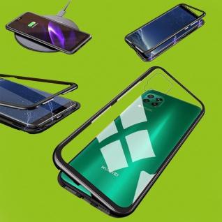 Für Huawei P40 Lite Magnet Metall Glas Schwarz Handy Tasche Hülle Case Cover Neu