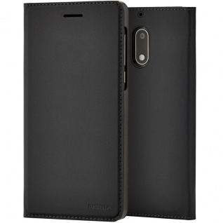 Nokia Slim Flip Case CP-301 Tasche Wallet für Nokia 6 Schutz Hülle Cover Etui Schwarz