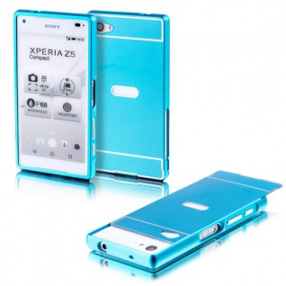 Alu Bumper 2teilig Abdeckung Blau für Sony Xperia Z5 Compact 4.6 Tasche Case Neu
