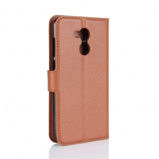 Tasche Wallet Premium Braun für Huawei Honor 6A Hülle Case Cover Etui Neu Schutz - Vorschau 3