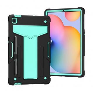 Für Galaxy Tab S6 Lite aufstellbare Tablet Schutzhülle Cover Schwarz Grün