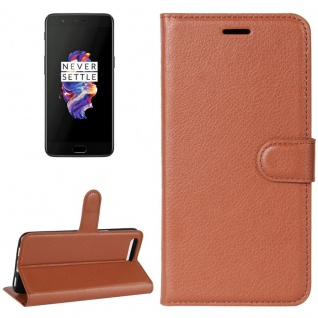 Tasche Wallet Premium Braun für ONEPlus 5 Hülle Case Cover Etui Schutz Zubehör