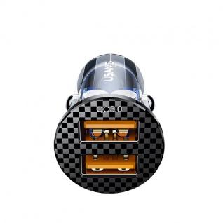 USAMS KFZ Ladegerät Schnellladegerät 36W Dual USB Mini Fast Car Charger Schwarz