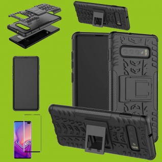 Hybrid Tasche Etuis Case Schwarz für Samsung Galaxy S10 Plus + 4D H9 Curved Glas