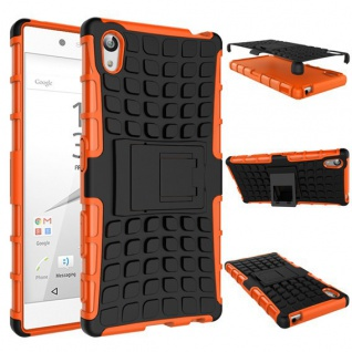 Hybrid Case Orange für Sony Xperia Z5 Premium 5.5 Zoll + H9 Hartglas Tasche - Vorschau 2