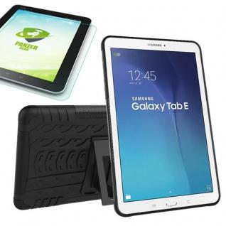 Hybrid Outdoor Tasche Schwarz für Samsung Galaxy Tab E 9.6 T560 + 0.4 Hartglas