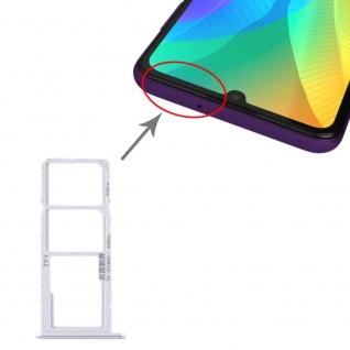 Für Huawei Y6P Dual Sim Card + Micro SD Card Tray Karten Halter Silber Neu