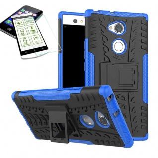 Hybrid Case 2 teilig Blau für Sony Xperia XA2 Ultra + H9 Schutz Glas Tasche Neu