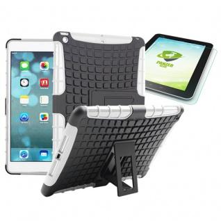 Hybrid Outdoor Schutzhülle Weiß für iPad Air 1 Tasche + 0.4 H9 mm Panzerglas Neu