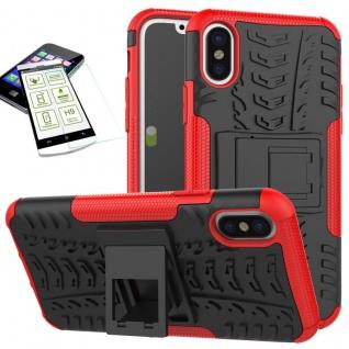 Hybrid Tasche Outdoor 2teilig Rot für Apple iPhone X / XS 5.8 Hülle + Hartglas