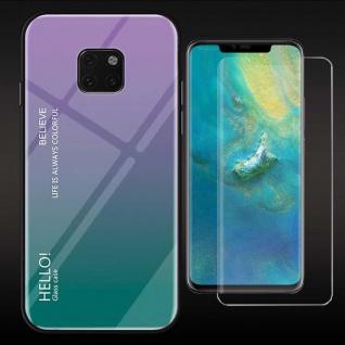 Für Huawei Mate 20 Pro Color Effekt Cover Lila Tasche Hülle + 4D Curved Glas Neu