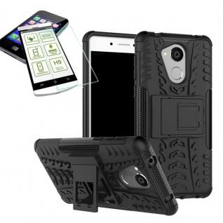 Hybrid Case Tasche Outdoor 2teilig Schwarz für Huawei Honor 6C Hülle Hartglas
