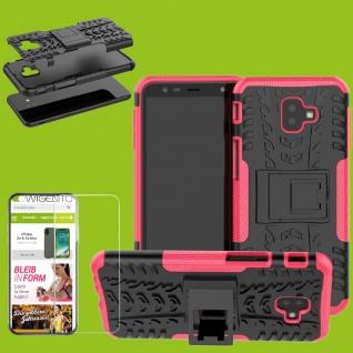 Für Samsung Galaxy J4 Plus J415F Hybrid Tasche Outdoor 2teilig Pink + H9 Glas