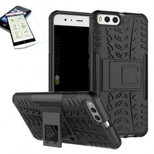 Hybrid Case Tasche Outdoor 2teilig Schwarz für Xiaomi Mi6 Hülle + Hartglas Neu