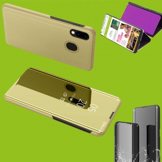 Für Huawei P Smart Plus 2019 Clear View Smart Cover Gold Tasche Hülle Wake UP