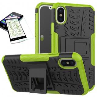Hybrid Tasche Outdoor 2teilig Grün für Apple iPhone X / XS 5.8 Hülle + Hartglas