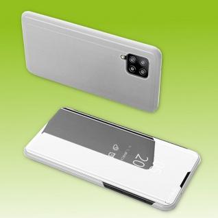 Für Samsung Galaxy A42 5G View Smart Cover Hülle Silber Handy Tasche Etuis Case