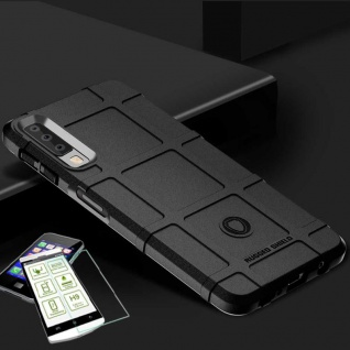 Für Samsung Galaxy A7 A750F Tasche Shield TPU Silikon Hülle Schwarz + H9 Glas
