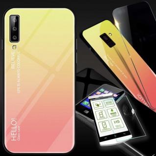 Für Samsung Galaxy A7 A750F 2018 Color Effekt Gelb Tasche Hülle H9 Hart Glas Neu