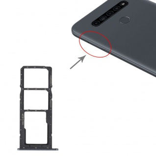SIM + SIM + Micro SD Karten Halter für LG K41S Card Tray Schwarz Ersatz Teil